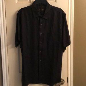 Tasso Elba Men's Black Linen shortsleeved shirt.